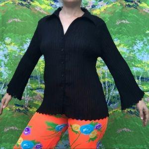 VINTAGE 90s pleated black sheer bell sleeve blouse